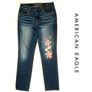 AEO High Rise Painted Super Super Stretch Jegging